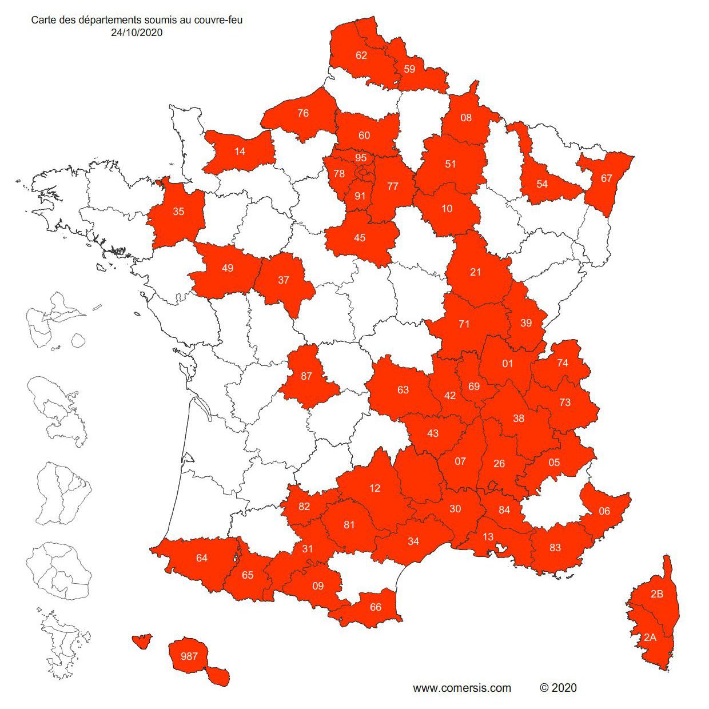 Les départements de France sous couvre feu