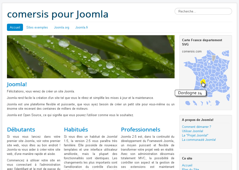 Module Joomla 3.xx carte cliquable de France