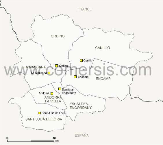 d'Andorre avec paroisses et villes