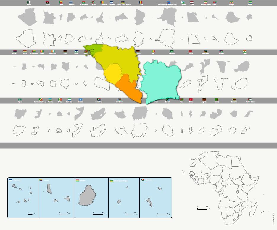 pays d'Afrique cliparts vectoriels
