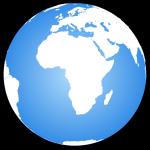 Globe terrestre centré sur l'Afrique