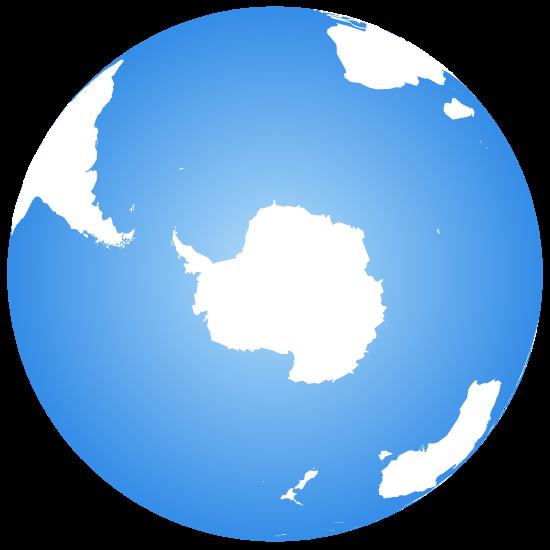 Globe terrestre centré sur l'Antarctique