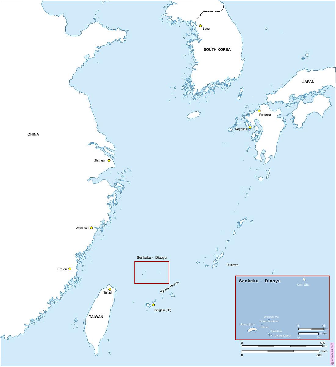 Iles de Senkaku - Diaoyu carte vectorielle HD