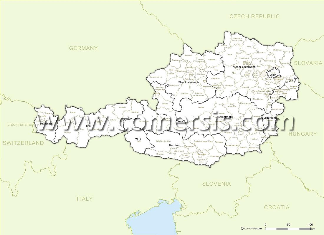 des Etats et districts d' Autriche avec noms.