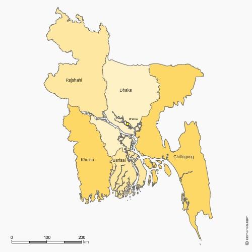 des provinces du Bangladesh pour Word et Excel
