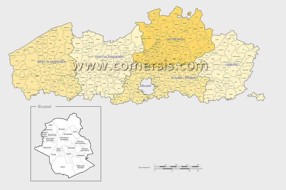 Municipalités des Flandres Belges avec nom