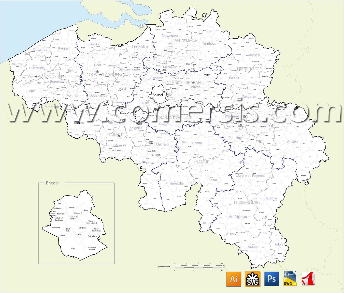 des communes de Belgique avec noms