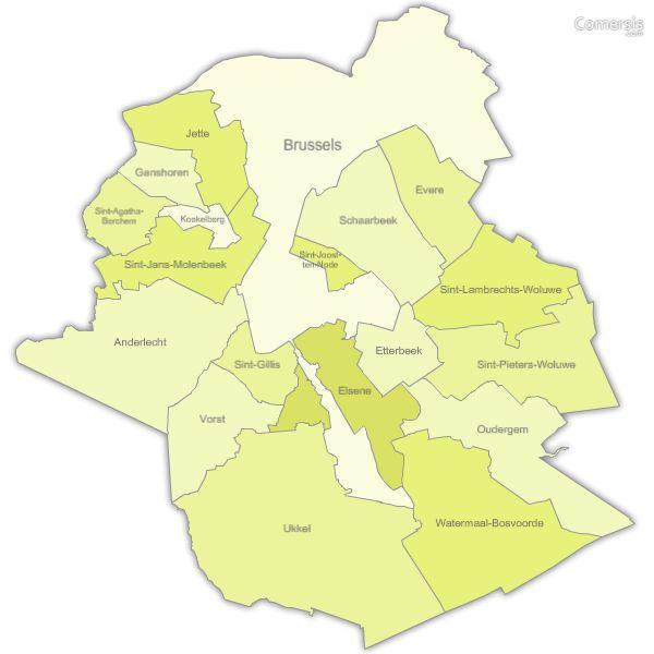 Gratis vector kaart van Brussel regio gemeenten