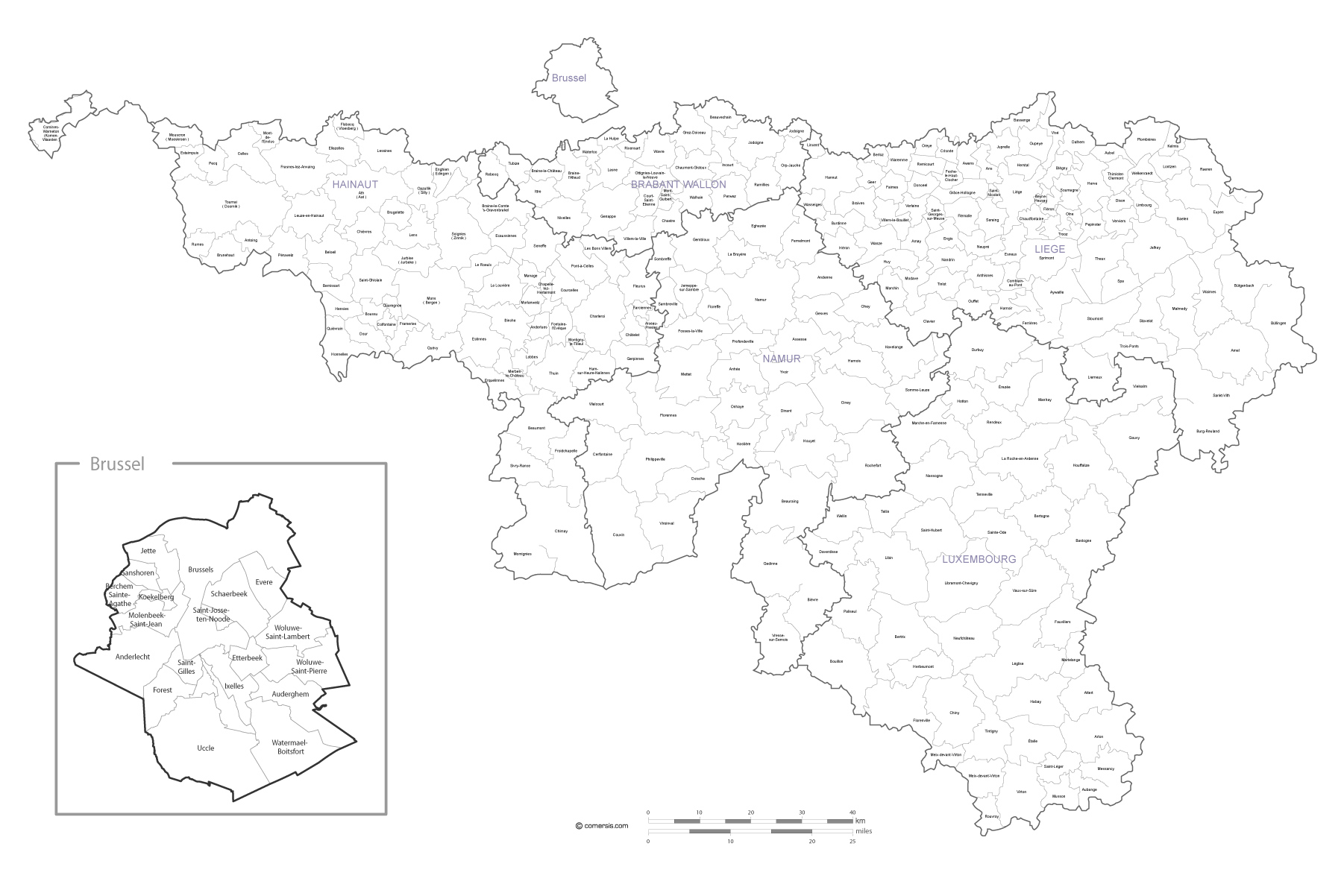 Carte des communes de Wallonie