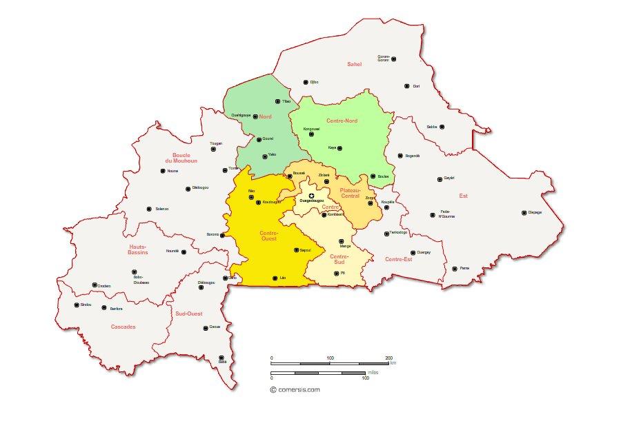régions du Burkina Faso modifiables avec Word ou Excel