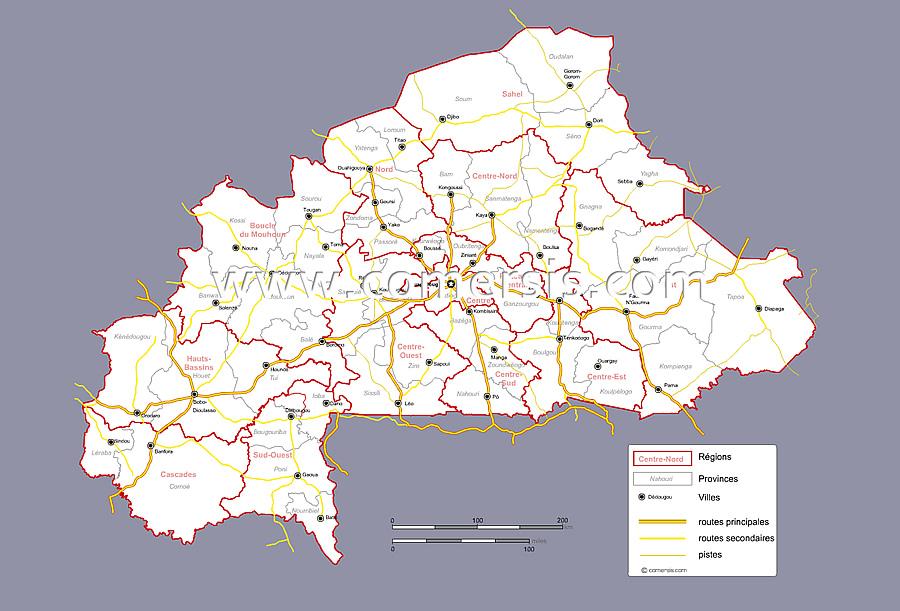 Régions et provinces du Burkina Faso