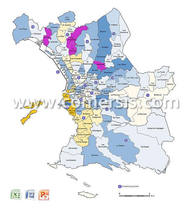 Plan des quartiers de Marseille