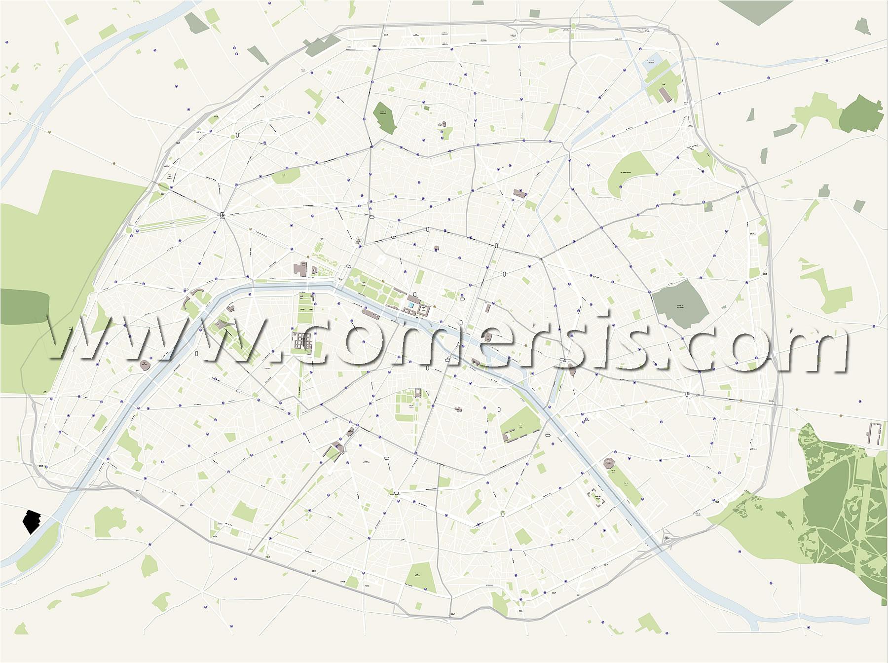 Plan vectoriel des rues de Paris avec metro