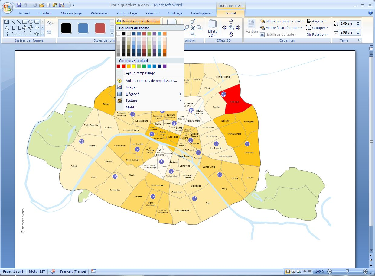 Excel and Word map of bouroughs of Paris.