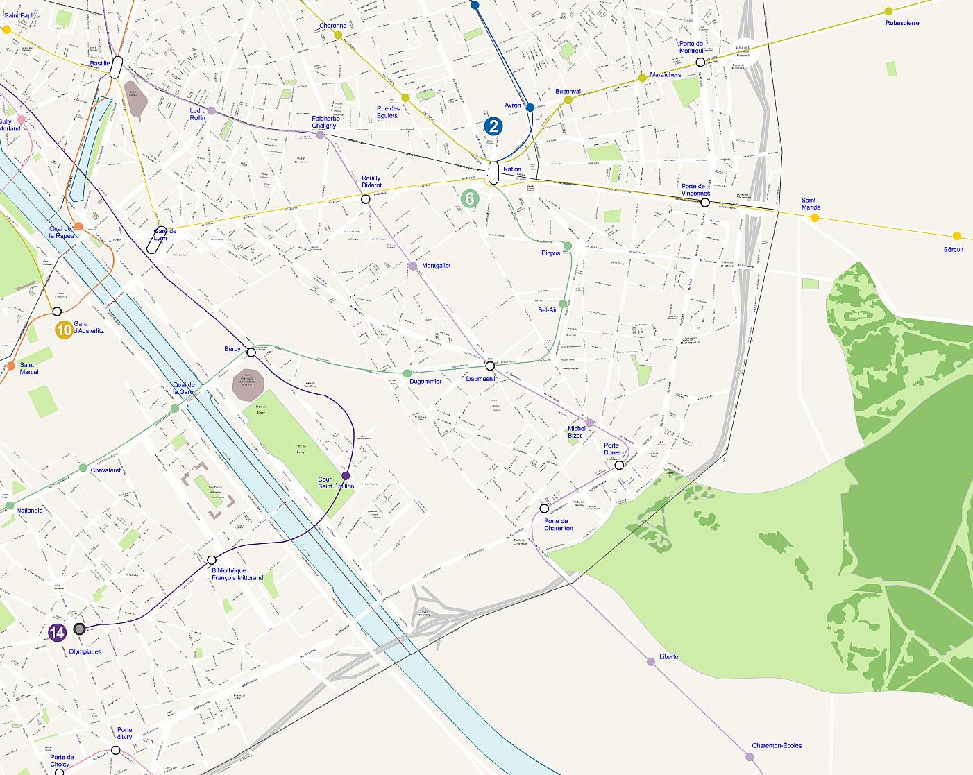 Plan 12 arrondissement de Paris