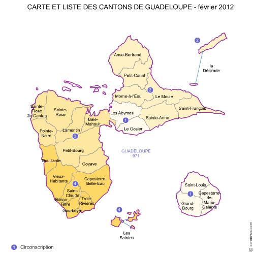 des cantons de la  Guadeloupe 2012 pour Word et Excel.