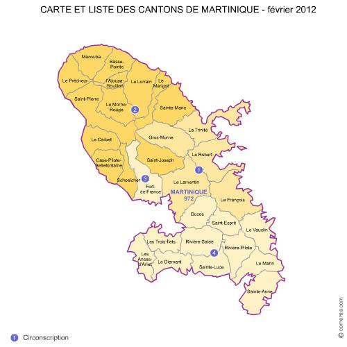 des cantons de la  Martinique 2012 pour Word et Excel.