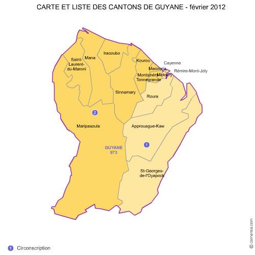 des cantons de la  Guyane 2012 pour Word et Excel.