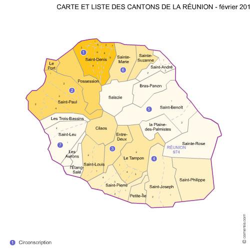 des cantons de  La Réunion 2012 pour Word et Excel.