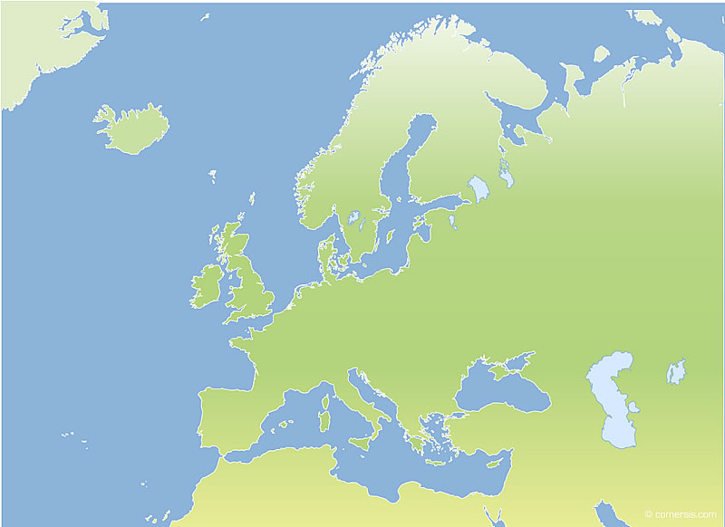 blank map of europe and asia. Blank vector map of Europa