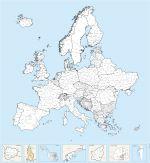 Régions nommées d'Europe - carte vectorielle