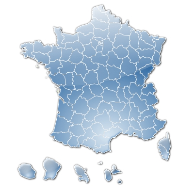 French counties stylised flash map