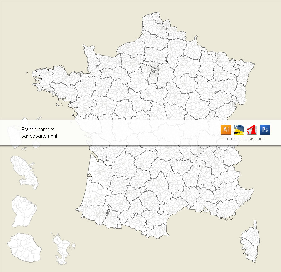French cantons -townships- vector map