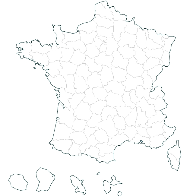 French departments blank map
