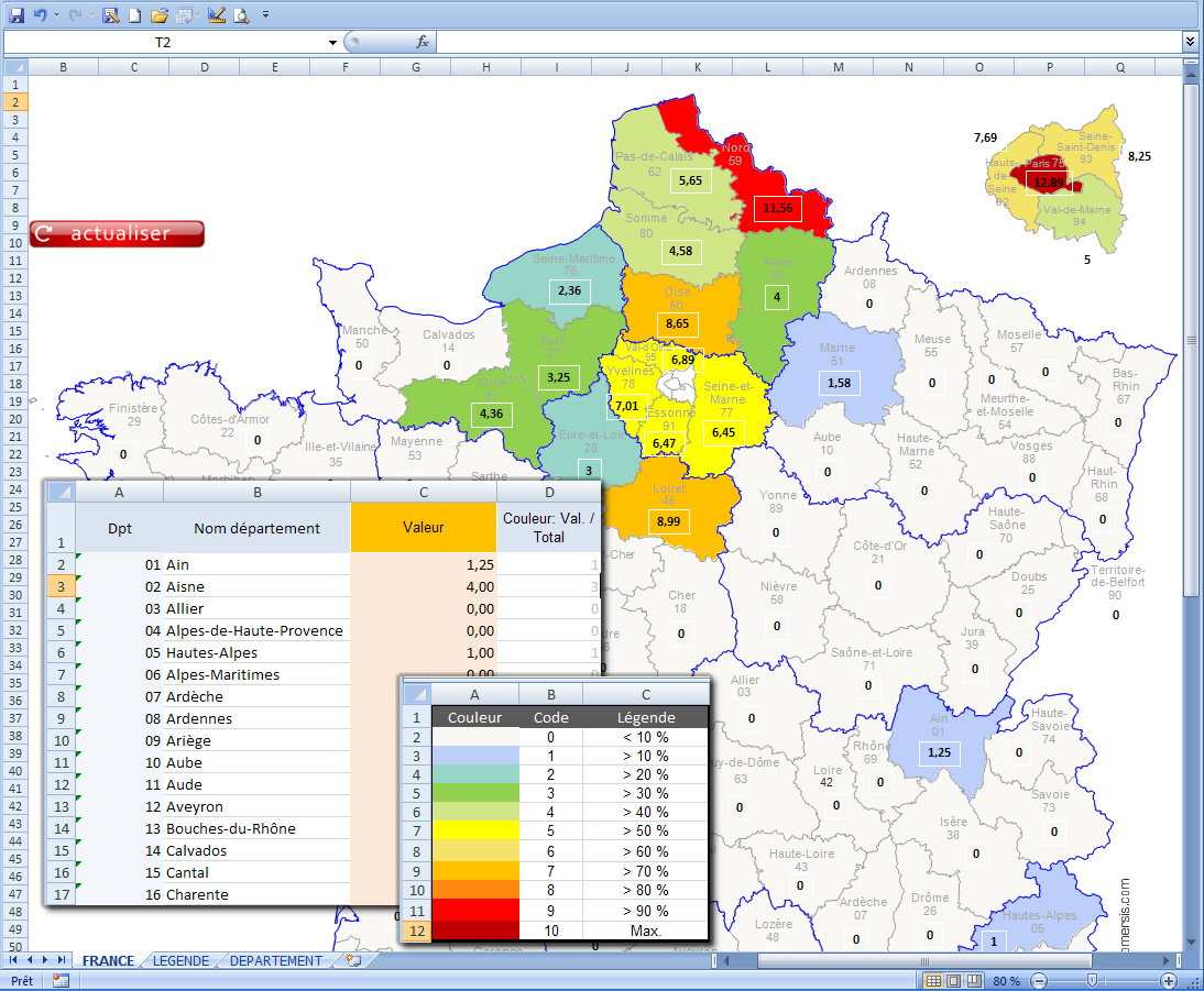 carte Excel macro départements de France