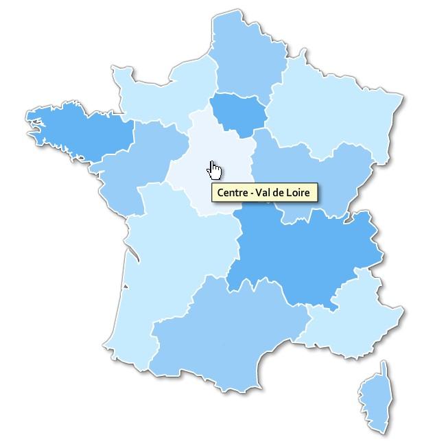 gratuite des régions de France cliquable en html pur