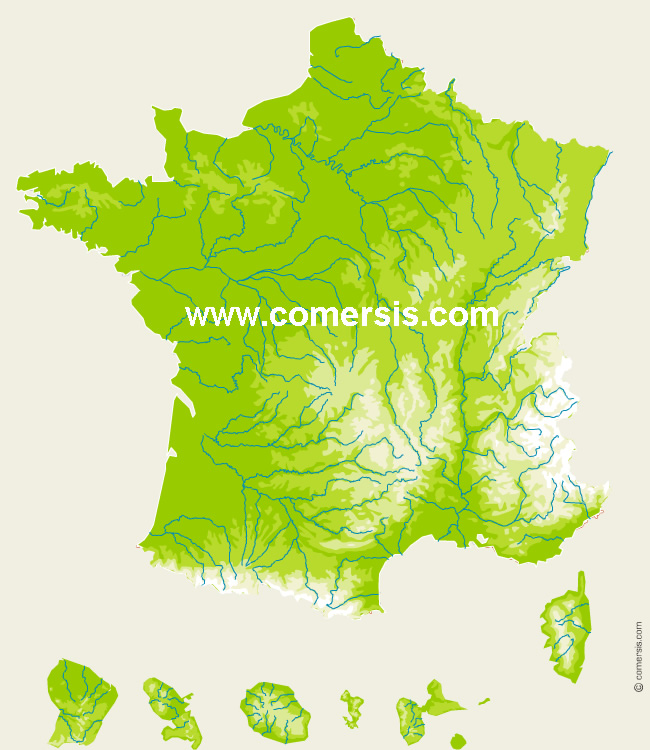 France topographic vector map