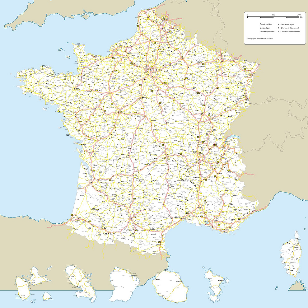 Map of France road networks - High Definition