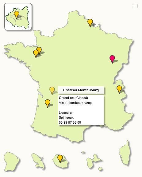 Carte de France avec points de localisation cliquables