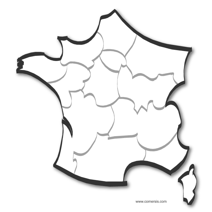 Stylized map of France by regions