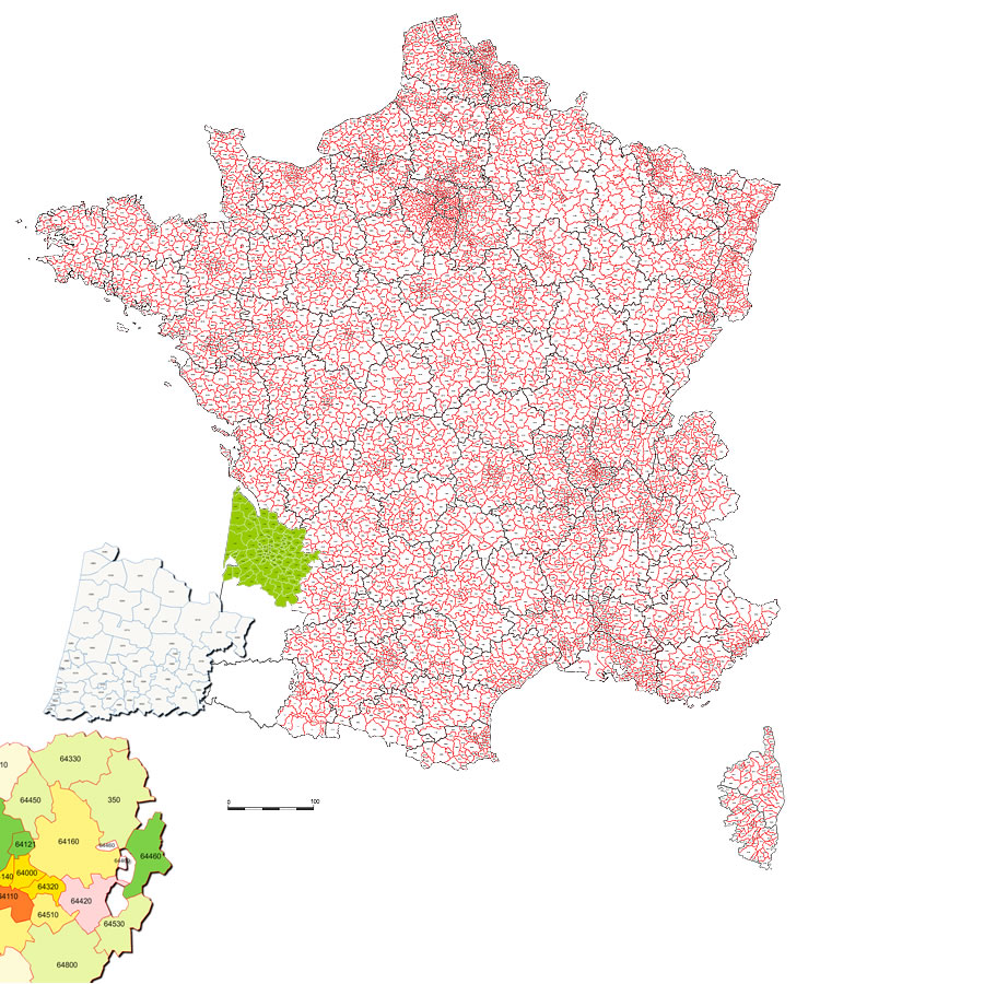Carte des codes postaux de France