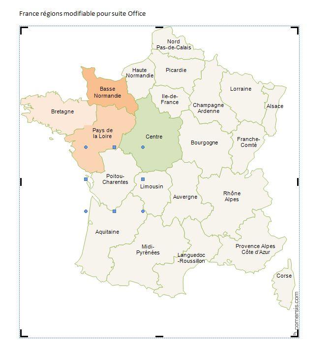 régions de France Word et Excel gratuite