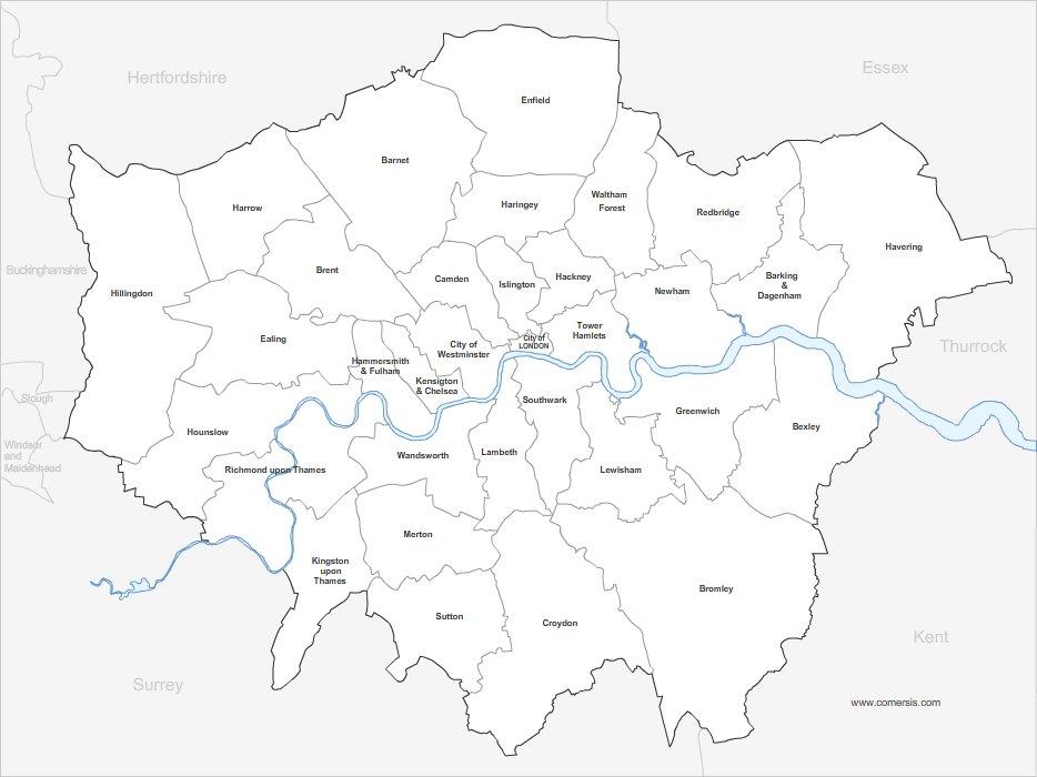 Carte du Grand Londres par quartier gratuite