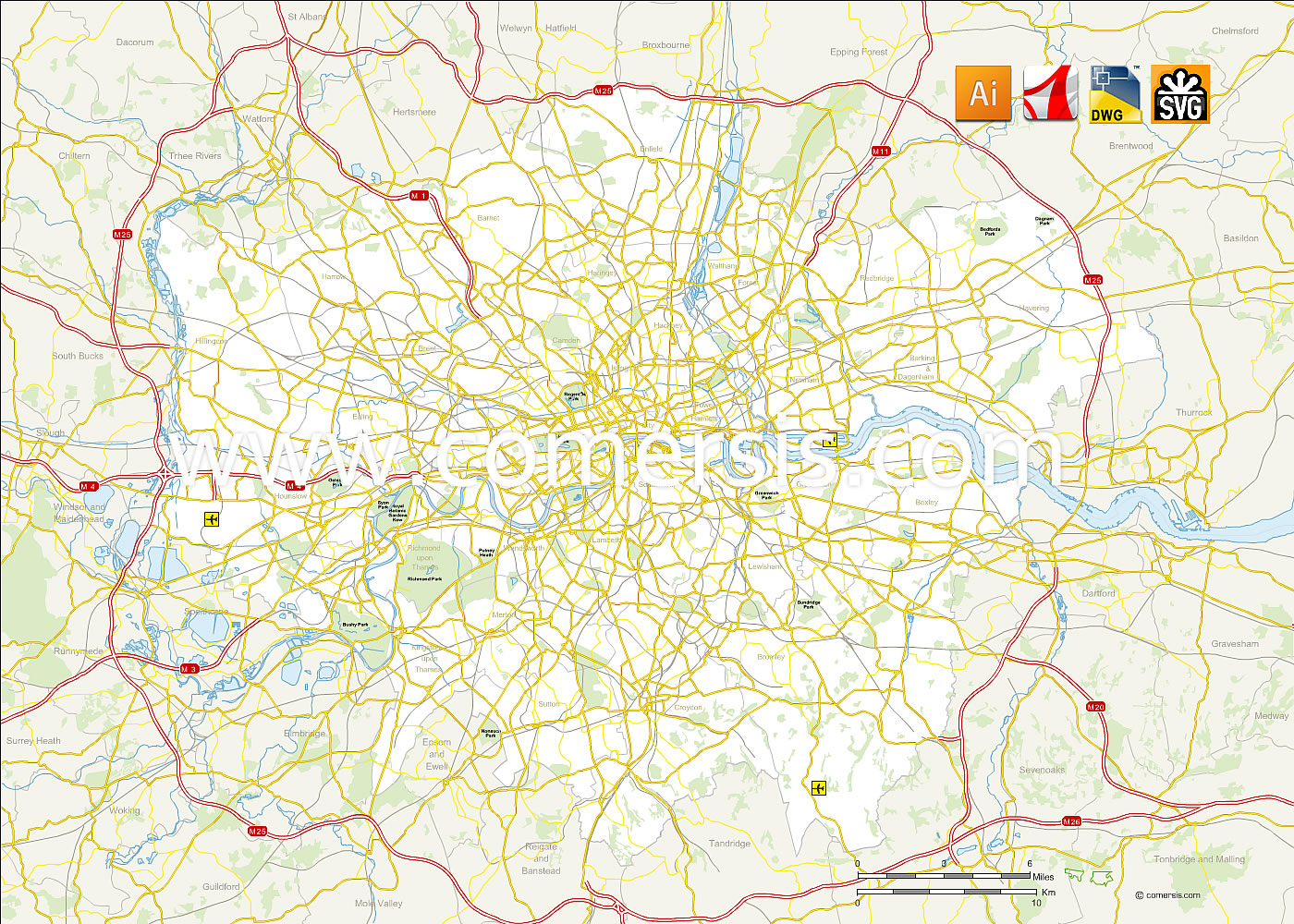 des routes du Grand Londres vectorielle