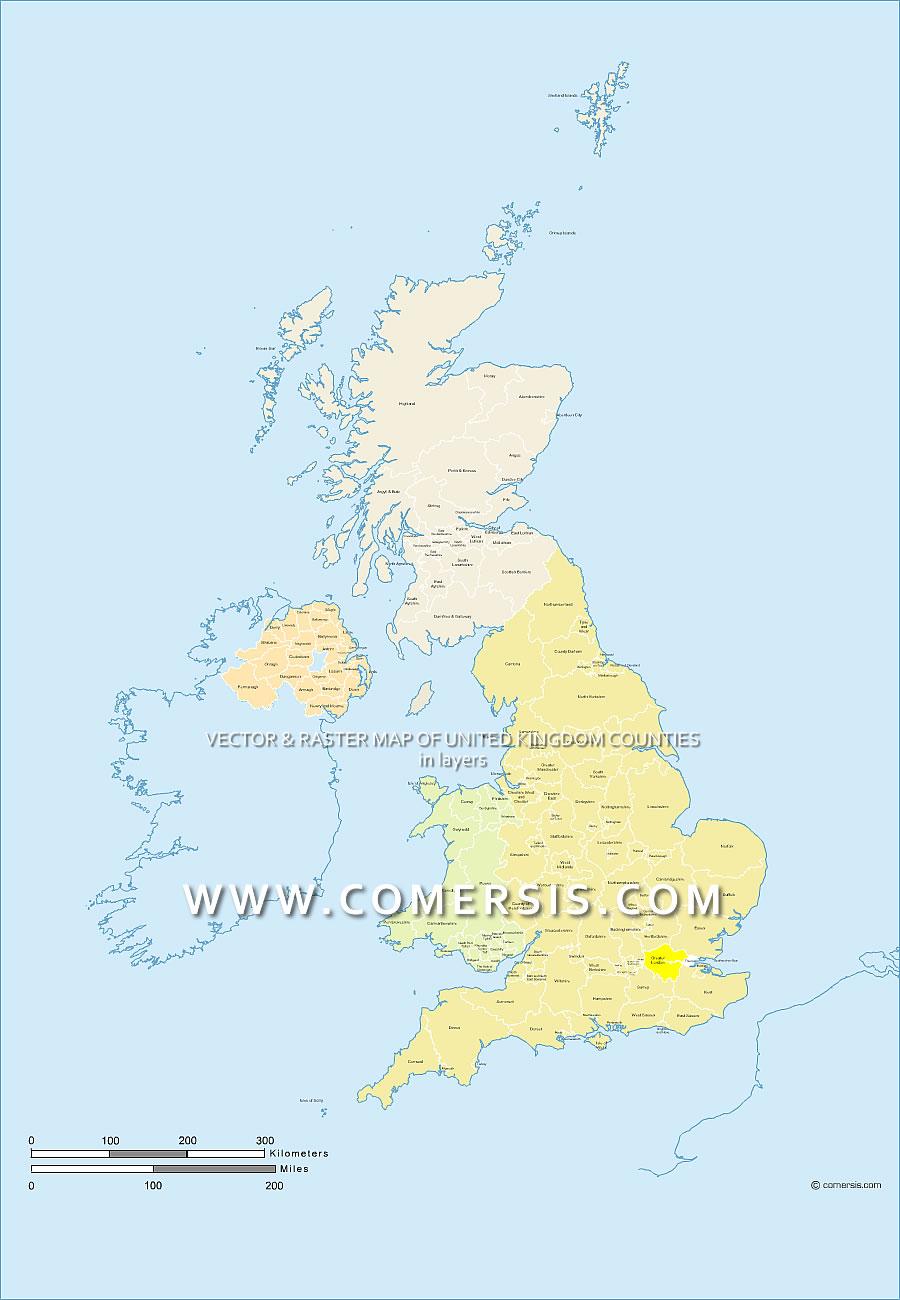 photoshop des comtés du Royaume-Uni avec noms