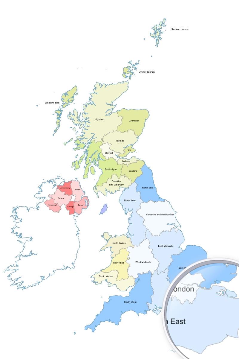 régions du Royaume Uni (Grande Bretagne)