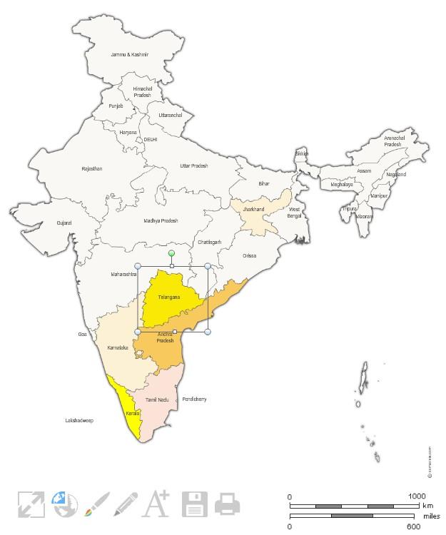États de l'Inde pour Word, Excel et Powerpoint