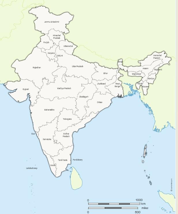 Etats de l'inde avec noms et frontières