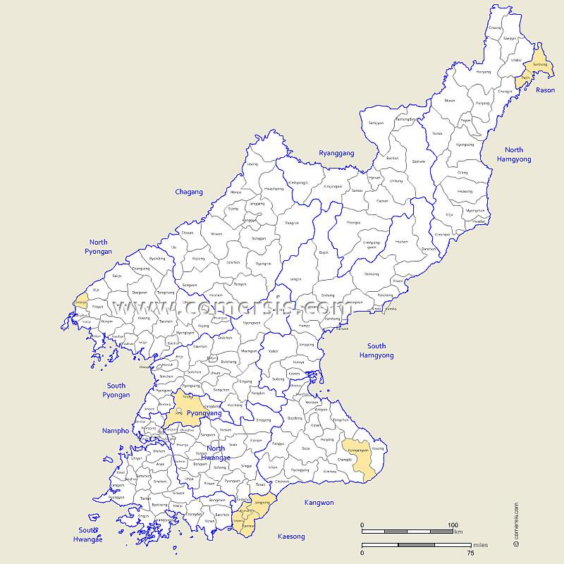 Corée du Nord provinces et cantons