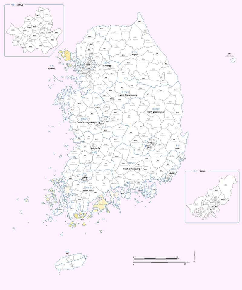 Villes et comtés de Corée du Sud