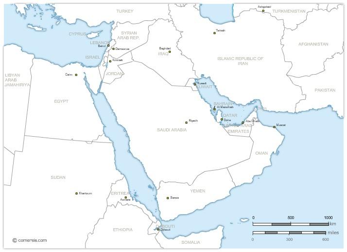 pays du Moyent Orient avec noms et capitles