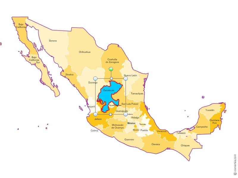 États du Mexique pour Excel,Word et Powerpoint