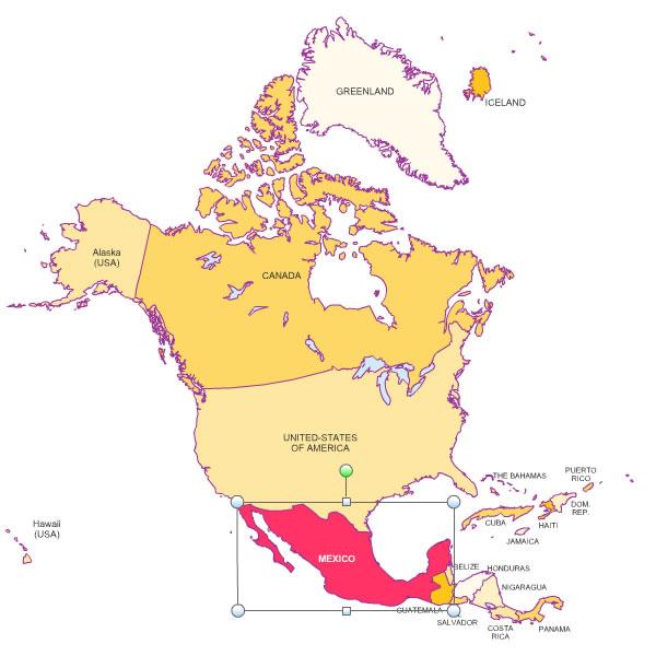 des pays d' Amérique du Nord pour Word et Excel