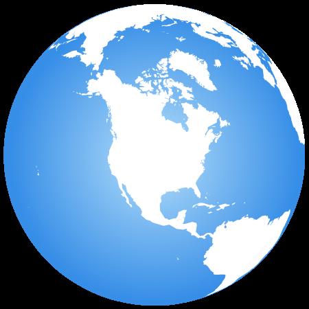 Globe terrestre centré sur l'Amérique du Nord