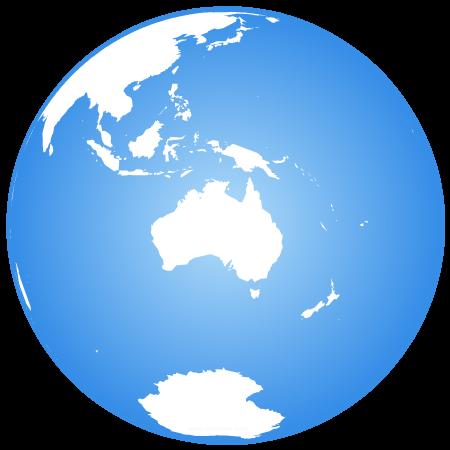Globe terrestre centré sur l'Océanie