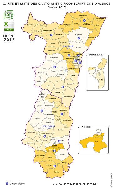 Carte Cantons d'Alsace